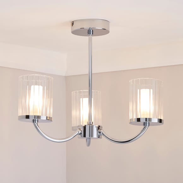 Mavia 3 Light Glass Bathroom Ceiling Fitting | Dunelm
