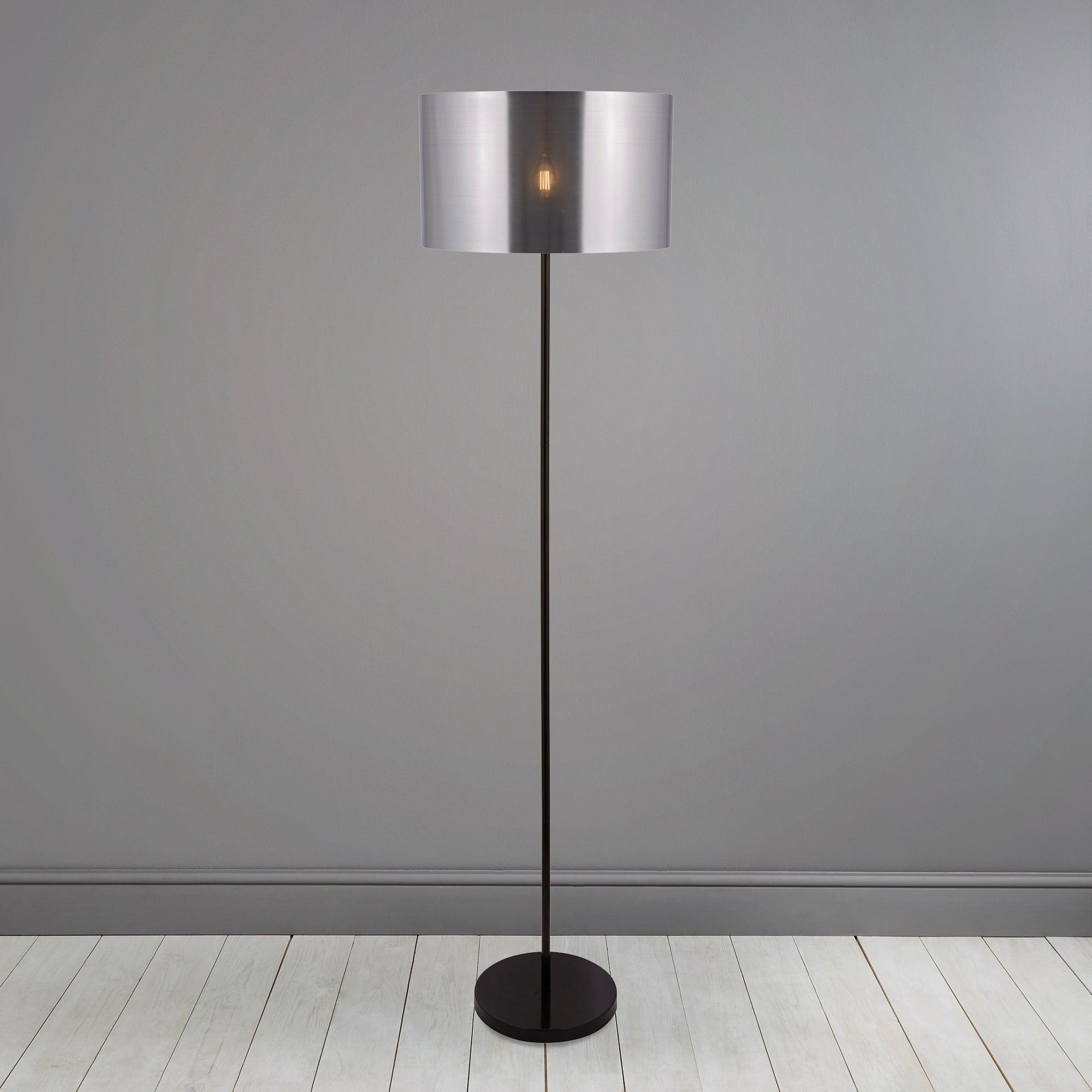 Volos Shiny Black Floor Lamp Silver