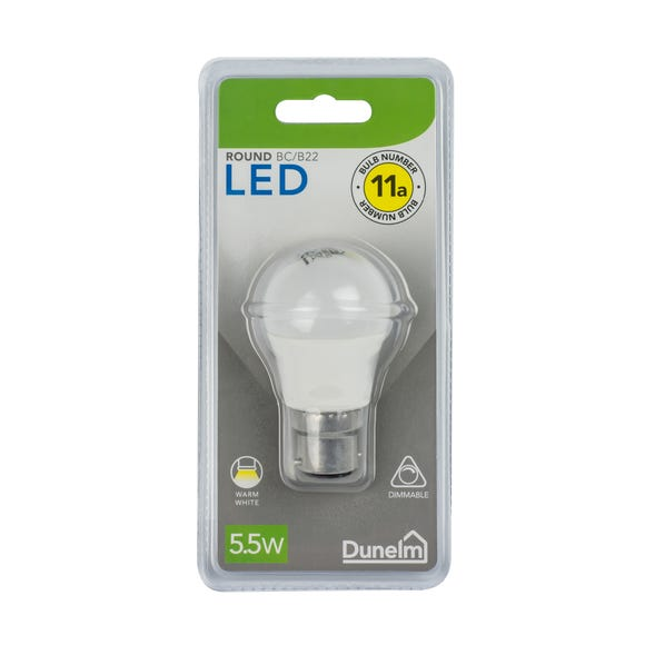 Dimmable 5.5 Watt BC Pearl LED Round Bulb White