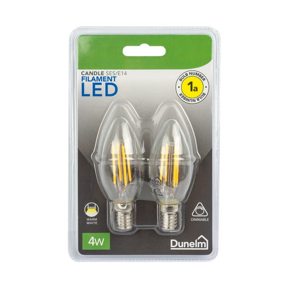 Dimmable 4 Watt SES LED Filament Candle Bulb 2 Pack White undefined
