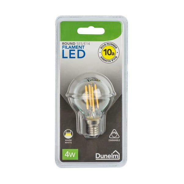 Dimmable 4 Watt SES LED Filament Round Bulb White