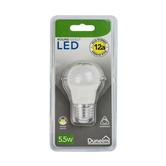Dimmable 5.5 Watt LED ES Pearl Round Bulb White