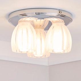Julius 3 Light Ribbed Glass Bathroom Flush Ceiling Fitting