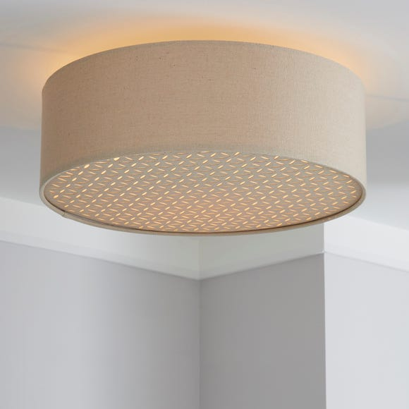 Kirsty Shade Taupe Flush Ceiling Fitting Natural