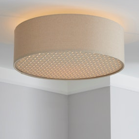 Kirsty Shade Taupe Flush Ceiling Fitting