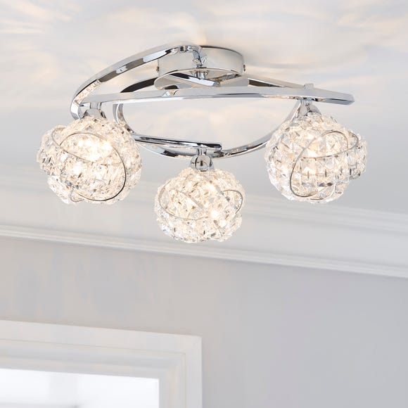 Cecilie 3 Light Crystal Semi-Flush Ceiling Fitting Silver