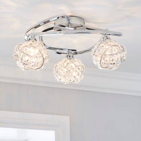 Cecilie 3 Light Crystal Semi-Flush Ceiling Fitting