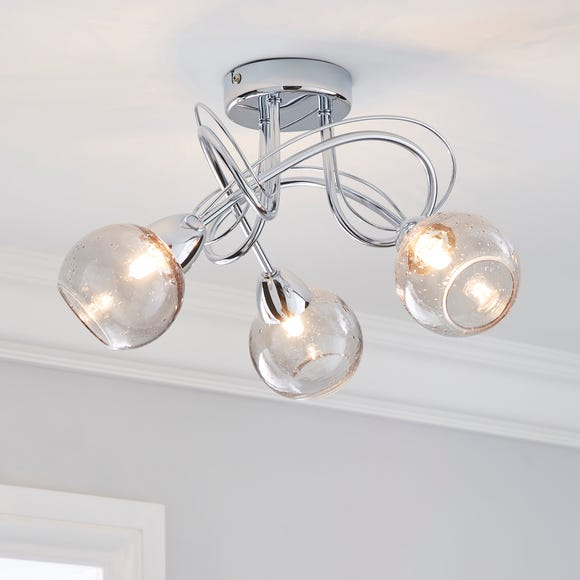 Kelly 3 Light Bubble Glass Ceiling Fitting Silver