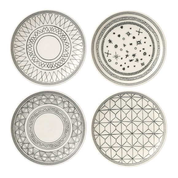 Royal Doulton Set Of Four Charcoal Plates Charcoal