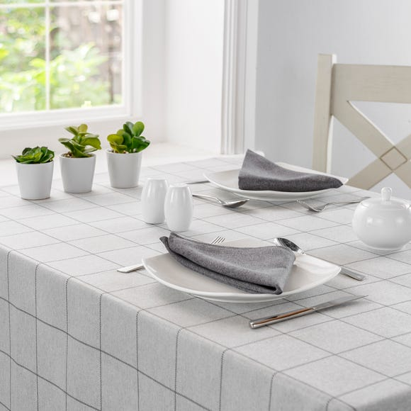 Luna Grey Check Rectangle Tablecloth Grey undefined
