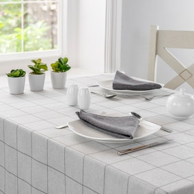 Luna Grey Check Rectangle Tablecloth