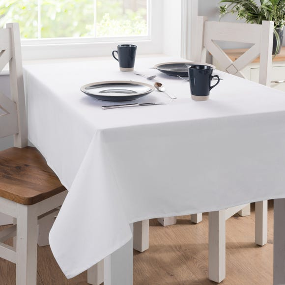 Plain White Rectangle Tablecloth White undefined