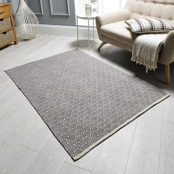 Grey Diamond Geometric Weave Rug Grey undefined