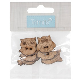 Pack of 6 Assorted Owl Wooden Buttons