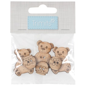 Pack of 6 Assorted Teddy Bear Wooden Buttons