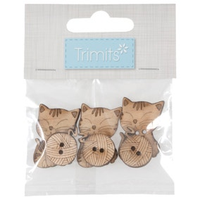 Pack of 6 Assorted Cats Wooden Buttons