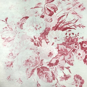 Cabbages Roses Constance Raspberry Cotton Fabric