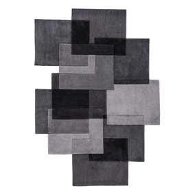 Grey Squares Shaped Geometric Rug