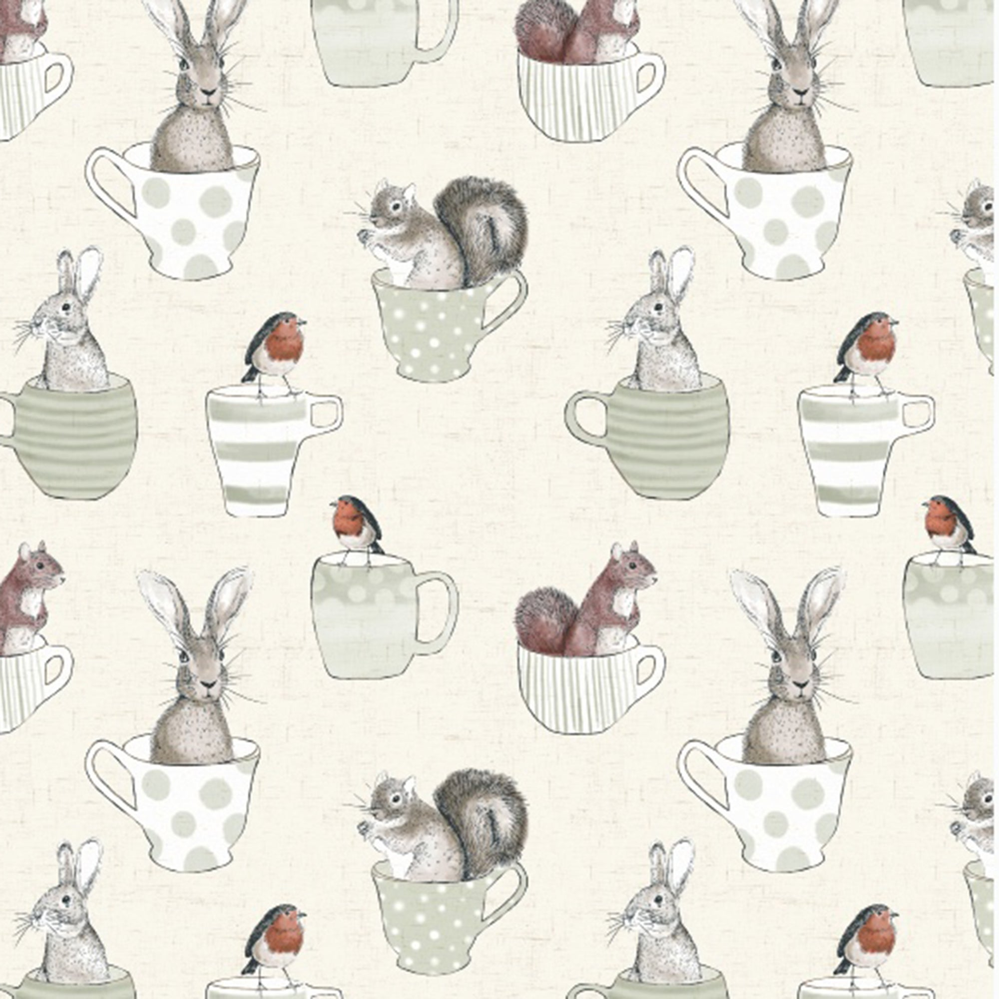 Photo of Teacups and creatures pvc fabric white