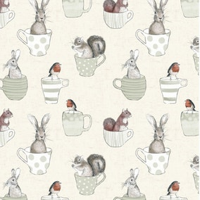 Teacups and Creatures PVC Fabric