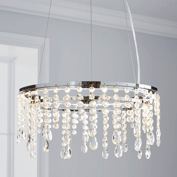 Glendora Integrated LED Hoop Crystal Ceiling Fitting Clear