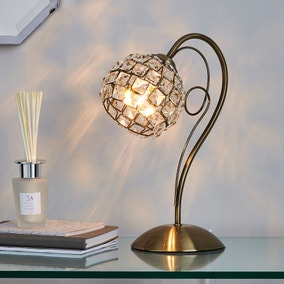Bergen Crystal Antique Brass Table Lamp