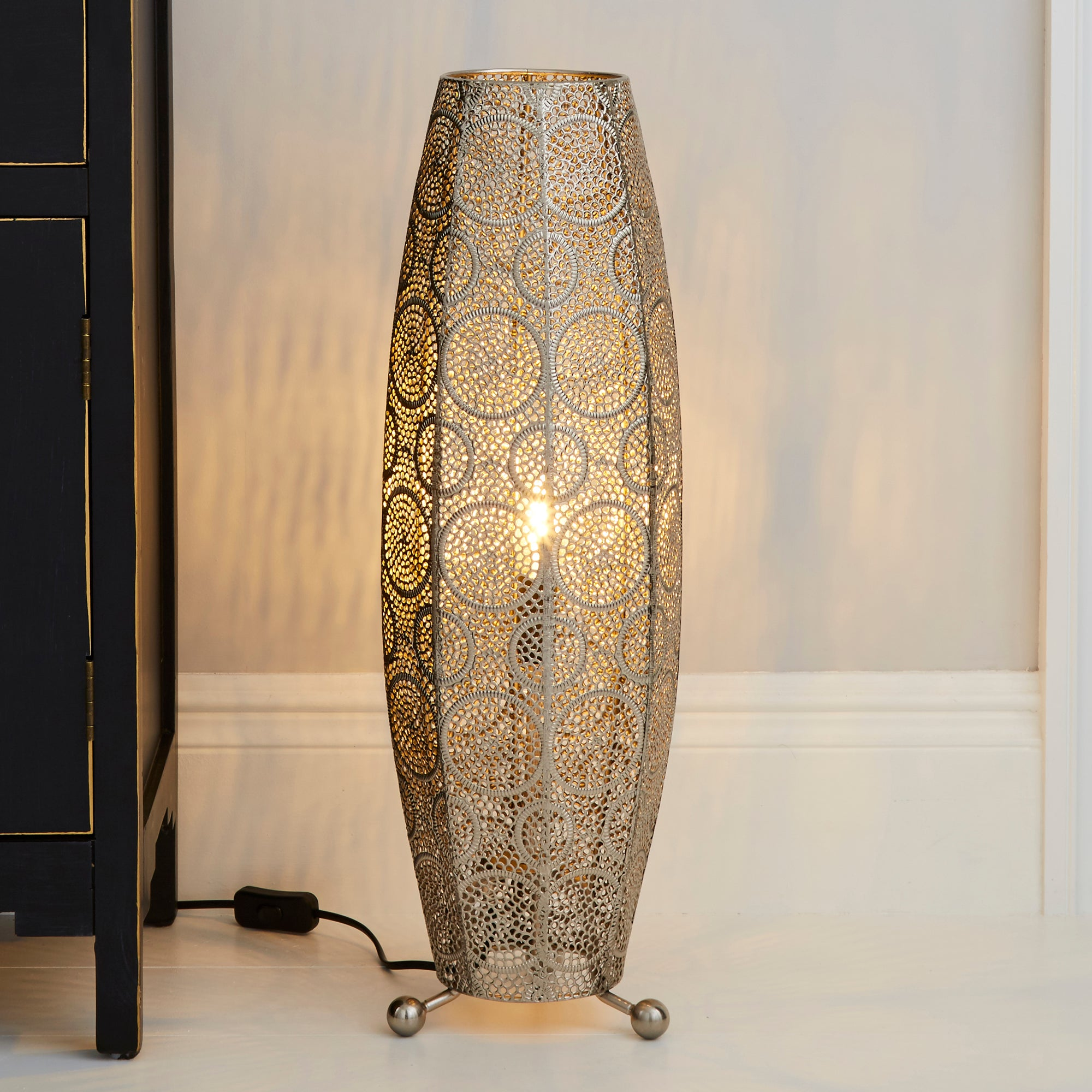Manila Moroccan 60cm Chrome Floor Lamp Silver