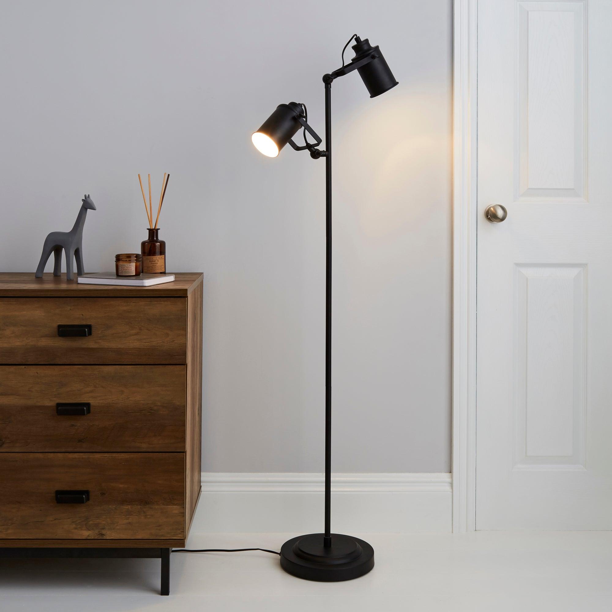 Healy 2 Light Black Floor Lamp Black