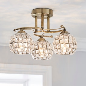 Bergen 3 Light Crystal Antique Brass Ceiling Fitting