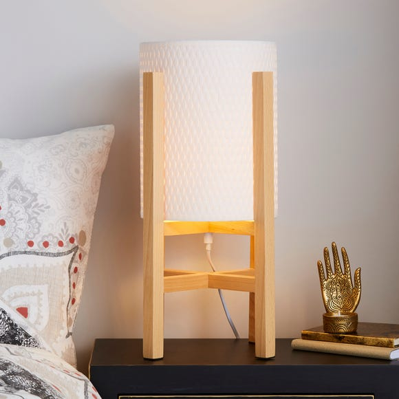 Lolo Light Wood Table Lamp White