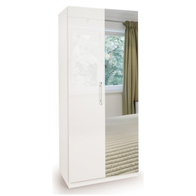 Angel High Gloss 2 Door Mirror Wardrobe