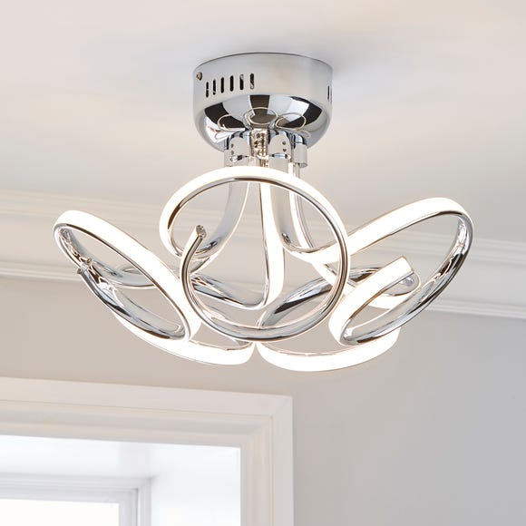 Cortez 5 Light Integrated LED Swirl Semi-Flush Ceiling Fitting Silver
