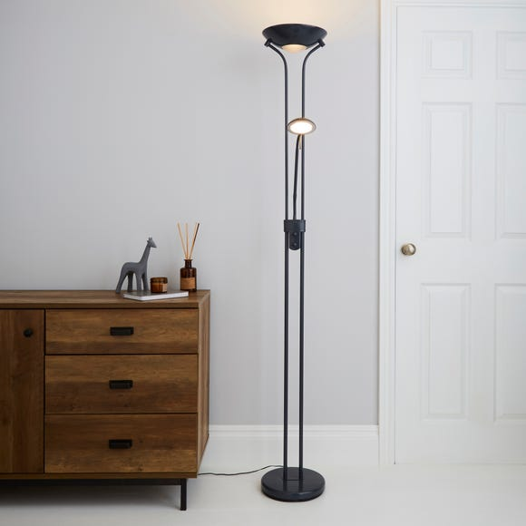 Father and Child 2 Arm Grey Floor Lamp Grey