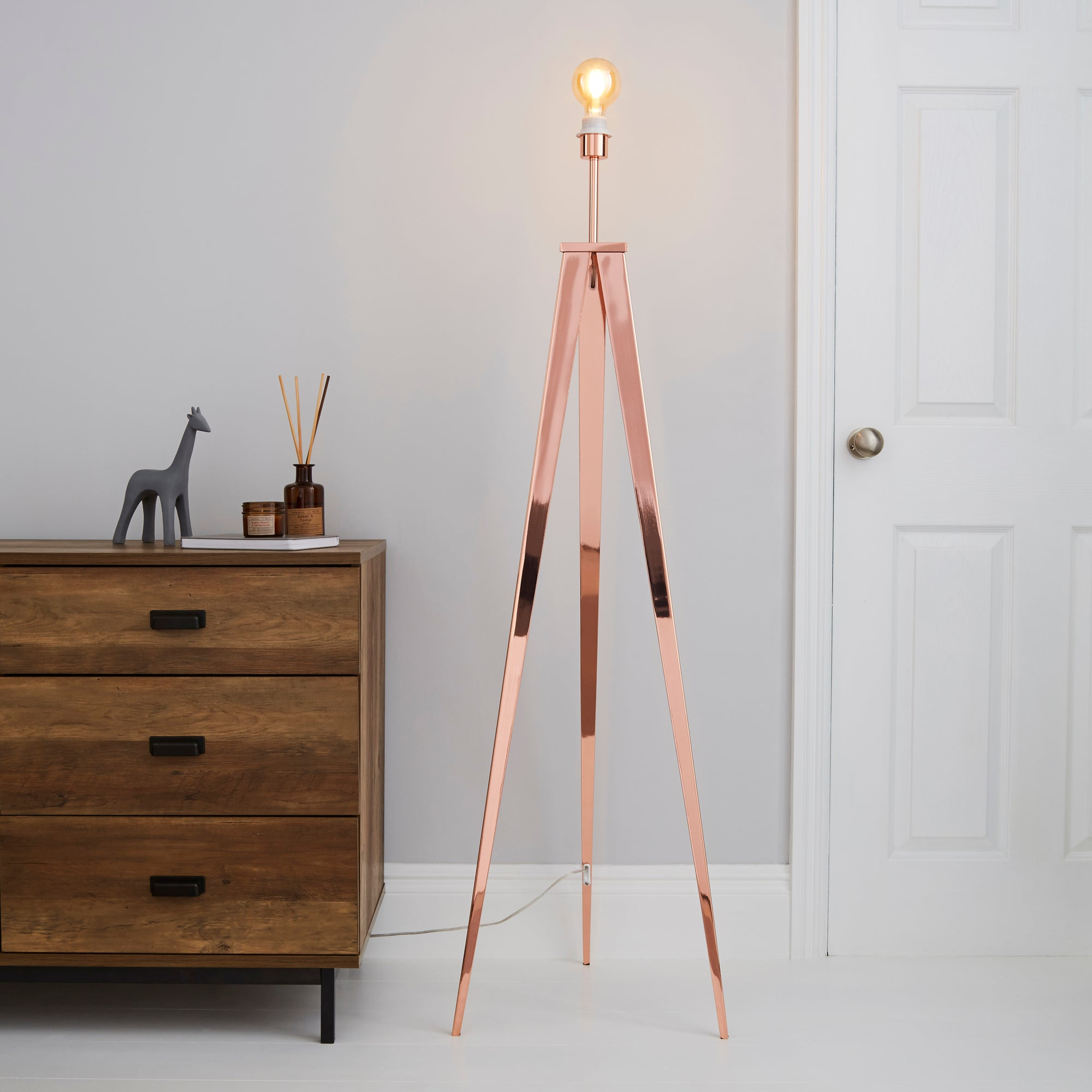 Dunelm 5A Hughes Tripod Copper Floor Lamp Copper (Brown)