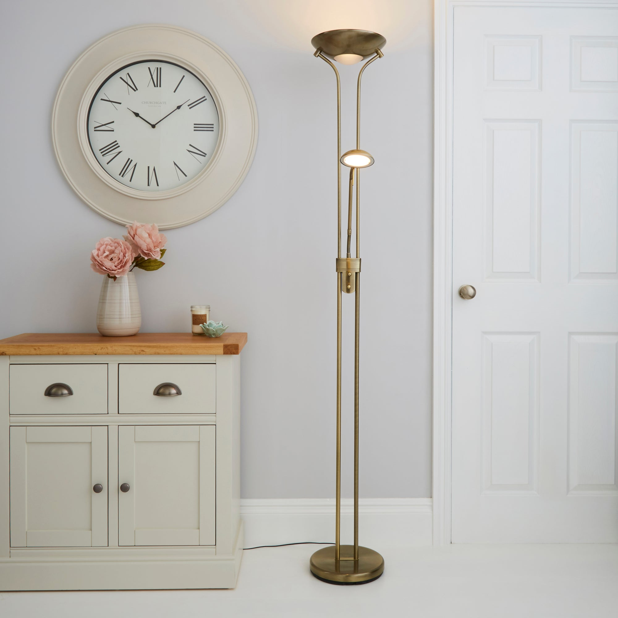 Father and Child 2 Arm Antique Brass Floor Lamp Brass
