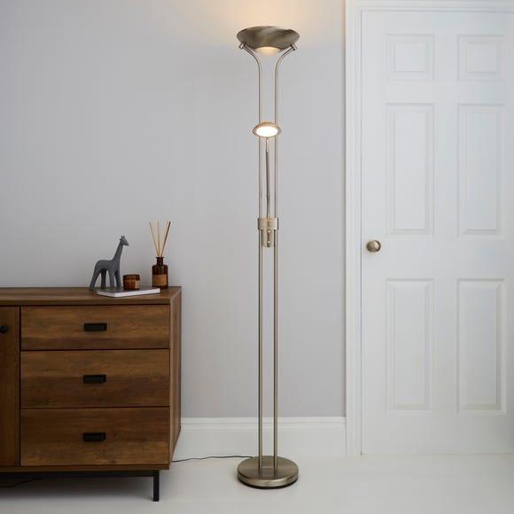 Father and Child 2 Arm Satin Chrome Floor Lamp Silver