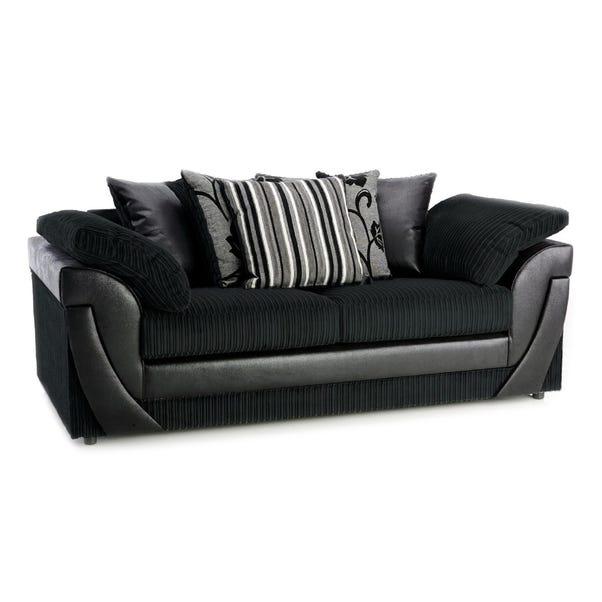 Lush Scatter Back 3 Seater Sofa Black