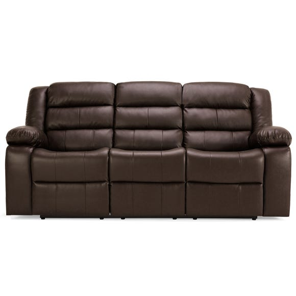 Whitfield 3 Seater Leather Reclining Sofa Brown