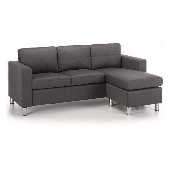 Zara Reversible Fabric Corner Chaise Sofa Grey Zara