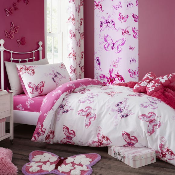 Catherine Lansfield Butterfly Pink Single Duvet Cover and Pillowcase Set  undefined