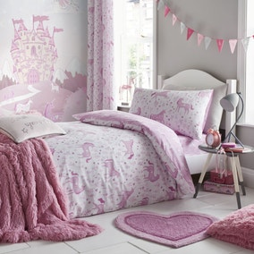 Catherine Lansfield Folk Unicorn Pink Duvet Cover and Pillowcase Set