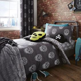 Catherine Lansfield Skulls Grey Single Duvet Cover and Pillowcase Set