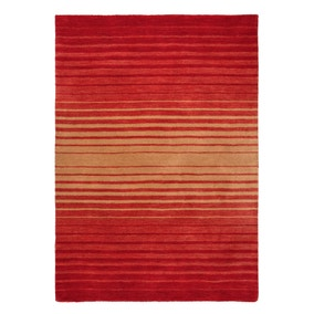 Auburn Ombre Red Wool Stripe Rug