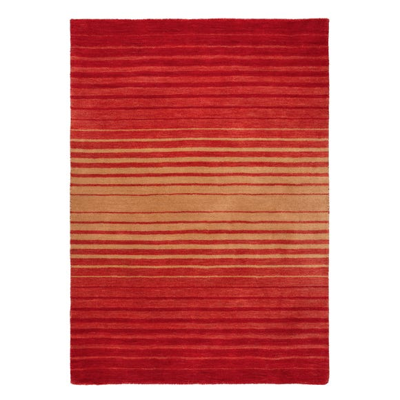 Auburn Ombre Red Wool Stripe Rug Red undefined