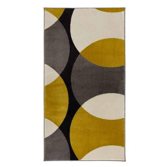 Abstract Geometric Circles Rug Abstract Circles Ochre undefined