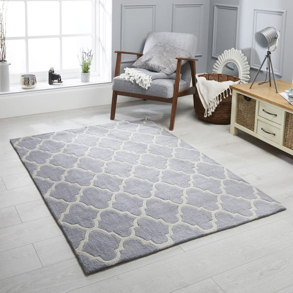 Trellis Patterned Rug Trellis Grey undefined