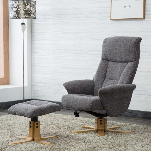 Whitham Swivel Recliner Chair Grey Dunelm