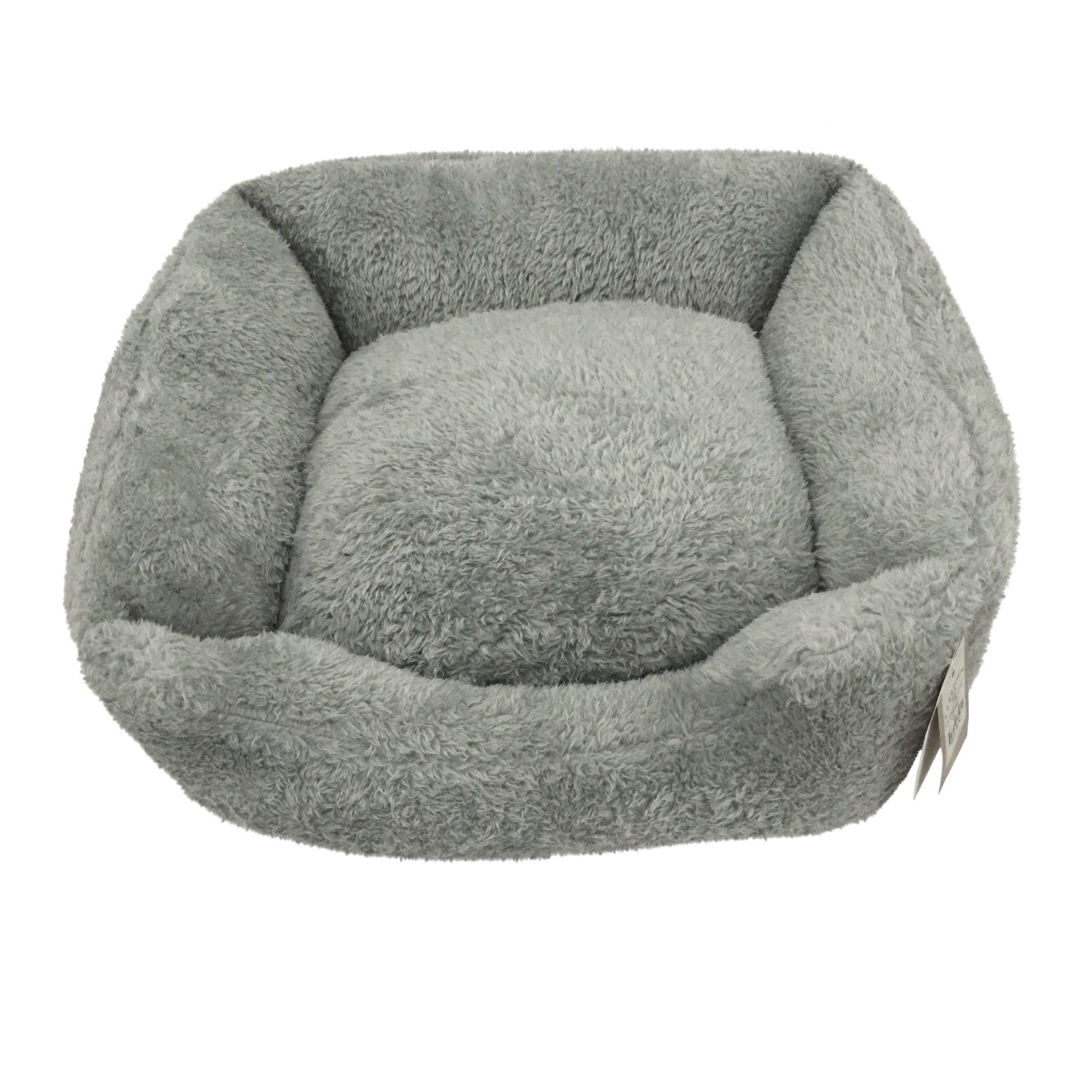 Teddy Bear Grey Square Dog Bed Grey