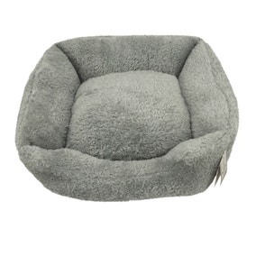 Teddy Bear Grey Square Dog Bed