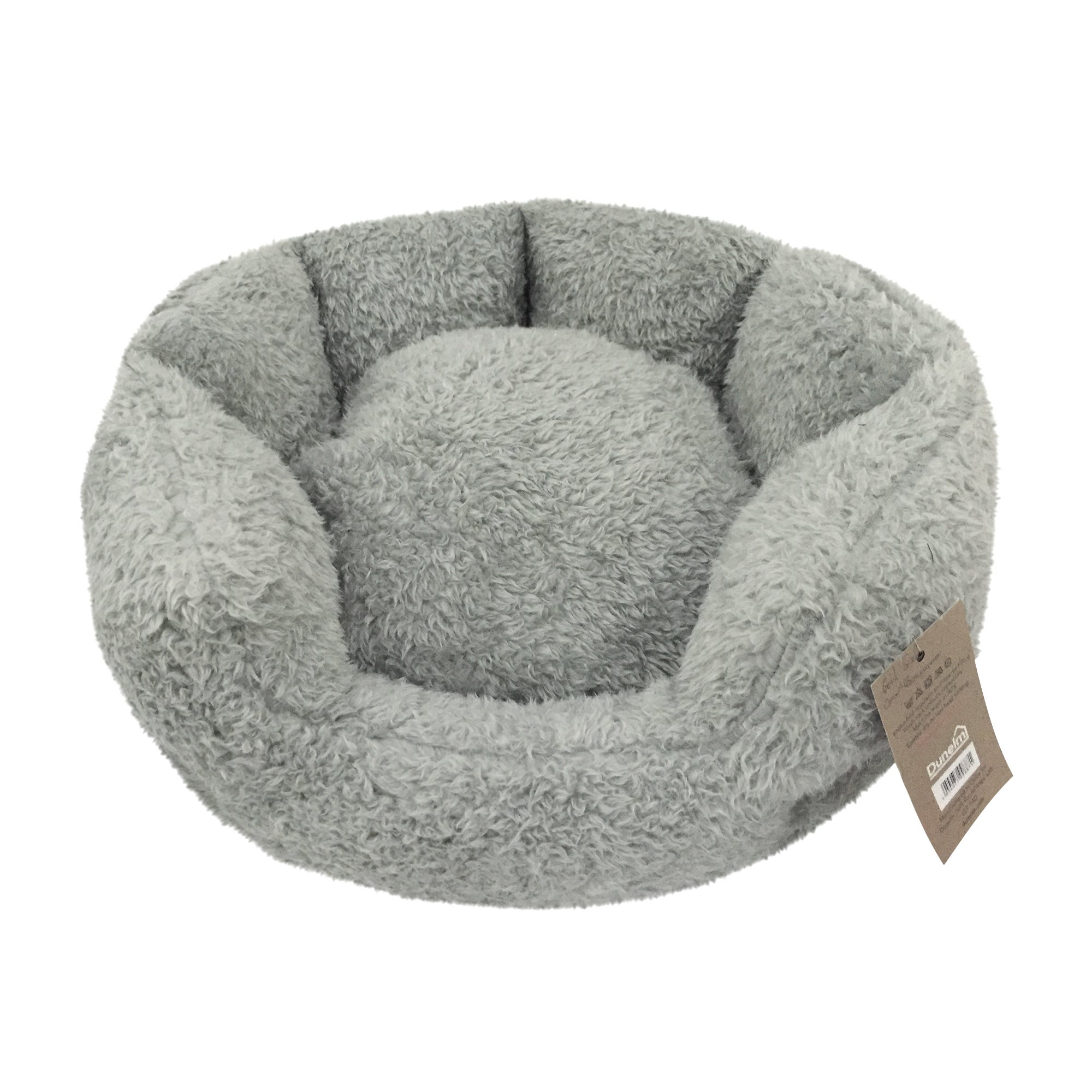 Teddy Bear Grey Round Dog Bed Grey